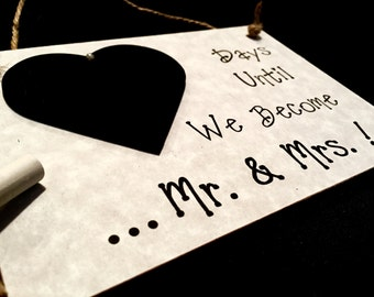 "Mr. and Mrs., Engagement gift For Couple, ""Days Until..We Become Mr. & Mrs.!"" (Grey) Wedding Countdown Sign,Gift For Couple."