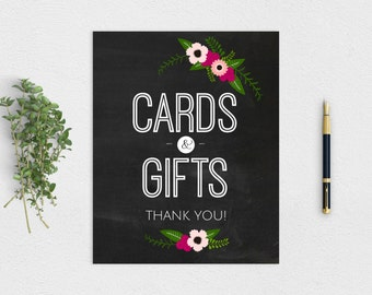 "Blackboard Rustic ""Cards & Gifts"" Sign - Printable Instant Download 8x10"""