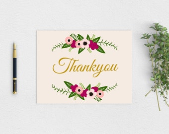 "Rustic ""Thankyou"" Card - Printable PDF Instant Download"