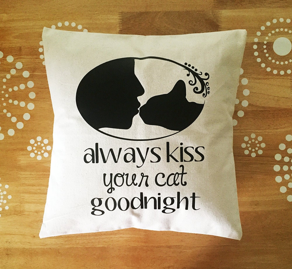 Cute Cat Quote Throw Pillow Cover Cat Throw by JaycatDesigns