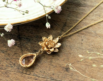 Lotus flower necklace gold plated with pink crystal