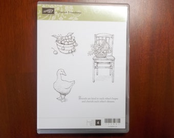 CHERISH FRIENDSHIP -- Very detailed stamp set from Stampin' Up. This craft stamp set is very gently used, and ready to ship.