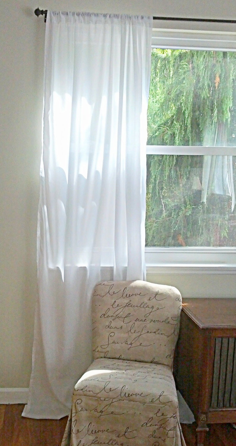 white cotton batiste curtain custom order one panel. Black Bedroom Furniture Sets. Home Design Ideas