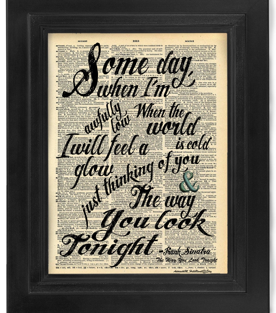 Frank Sinatra The Way You Look Tonight lyric Calligraphy on
