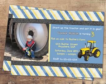 Tractor Birthday Invitation, John Deer Invitation, Tractor Invitation, Farm Invitation, Blue and Yellow Birthday Invitation