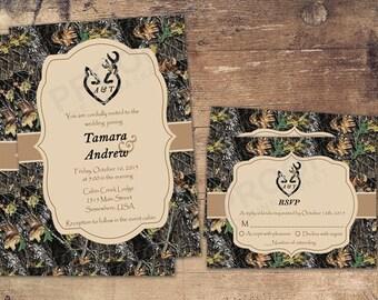 camo deer head country wedding invitations camo winter camo deer heart wedding - Deer Wedding Invitations