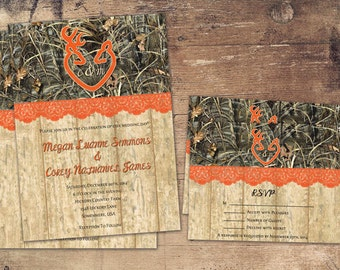 the hunt is over wedding invitation sets camo deer deer  etsy, Wedding invitations