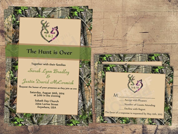 the hunt is over wedding invitation sets camo deer deer, Wedding invitations