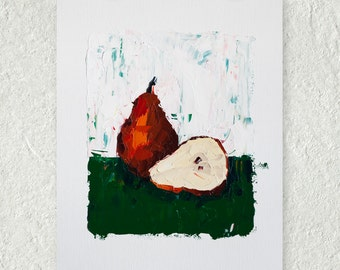 Pear Painting, Red and Green Wall Art, Fruit Painting, Still Life Artwork, Impasto Painting, Rustic Colors, Kitchen Decor, Oil Painting