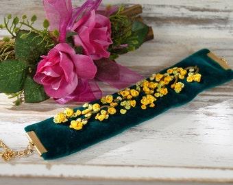 Bracelet, cuff, textile bracelet, Fabric Bracelets,ribbon embroidered bracelet
