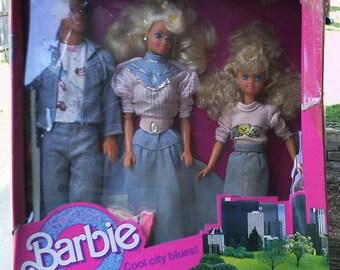 1990 Cool City Blues Barbie Ken Skipper MIB