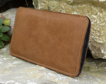 iPhone 5 Leather Case, iPhone Case SE, iPhone 4 Case NOUGAT vegetable tanned leather, wool felt
