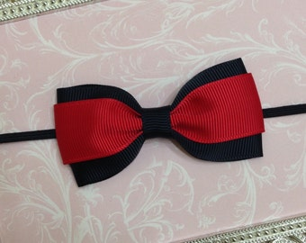 Baby Bow Headband - Baby Headband - Black and red Baby Headband - Bow Headband - Newborn Headband - Black & Red Bow Headband