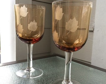 Etched Fall Wine Glasses