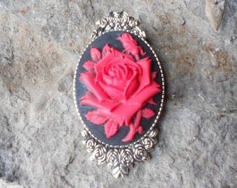 Gorgeous Red Rose Cameo Brooch / Pin, (on black) Beautiful Detail and Great Quality - Black Rose