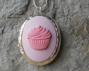 Cupcake Cameo Locket - Pink - .925 Silver Plated, Baker, Bakery, Pastry Chef, Quality