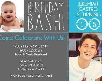 Now and Then Photo Birthday Invitation - 2 Photo Birthday Party Invitation - PRINTABLE