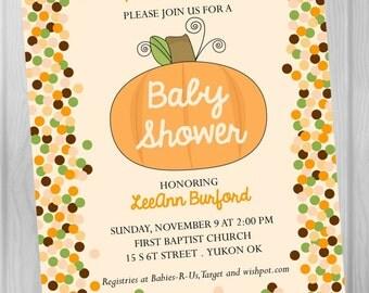 CUSTOM Digital, PRINTABLE INVITATION, Pumpkin Patch Baby Shower Invitation, Fall Invite, A Little Pumpkin