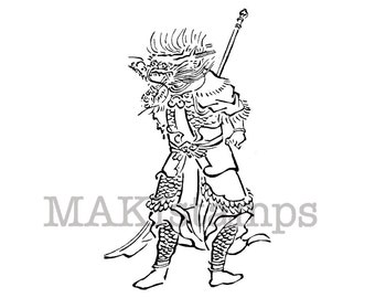 Rubber stamp of a japanese zodiac sign / Dragon as Samurai / Unmounted rubber stamp (150715)