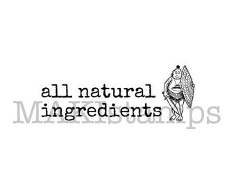 DIY text rubber stamp all natural ingredients / labeling stamp (150511)