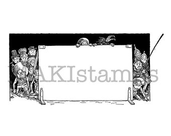 Big decorative label rubber stamp with Brownies / Large rubber stamp (150520) - unmounted or cling stamp option