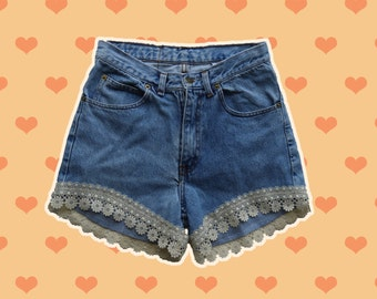 Denim Shorts Vintage with Lace Detailing