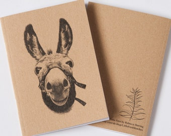 Maurice the Donkey - A6 lined pocket notebook - Stocking filler, Christmas Gift -