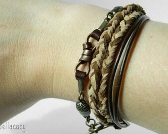 Leather and Metal Bracelet Set
