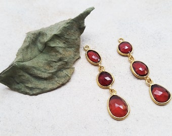 3 drops  Garnet Stones with Gold over Silver Earring piece.
