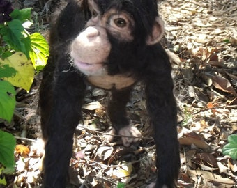 Needle felted Chimpanze, Needle felted monkey, Needle felted animal, OOAK needle felted sculpture