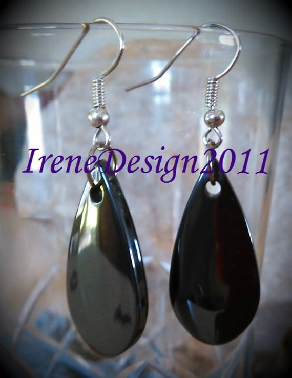Handmade Silver Hook Earrings with Blood Stone Drops by IreneDesign2011