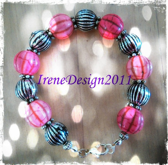 Handmade Silver Bracelet with Pink & Silver Pumpkins by IreneDesign2011