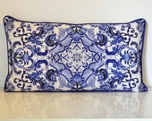 Blue and White Lumbar Pillow Cover-Blue and White Porcelain Print Pillow Cover-Cobalt and White Pillow Cover