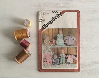 Vintage Doll Clothes Sewing Pattern From 1982