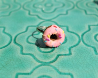 Polymer Clay Doughnut Donut Ring Pink Frosted Strawberry with Rainbow Sprinkles Statement Jewelry Food Jewelry