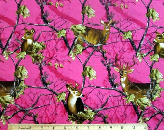 Per Yard, Real Tree Deer with Branches Fuchsia Pink Fabric From Sykel