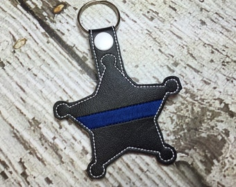 Blank Sheriff - Deputy - Back the Blue - POLICE - Thin Blue Line - In The Hoop - Snap/Rivet Key Fob - DIGITAL Embroidery Design