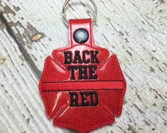 Back the Red - Fireman - Maltese Cross - Firefighter - Fireman - In The Hoop - Snap/Rivet Key Fob - DIGITAL Embroidery Design