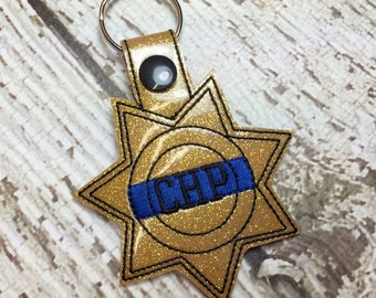California Highway Patrol - CHP - Sheriff - Deputy - Back the Blue - POLICE - In The Hoop - Snap/Rivet Key Fob - DIGITAL Embroidery Design