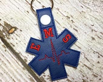 EMS - Paramedic - EMT - In The Hoop - Snap/Rivet Key Fob - DIGITAL Embroidery Design