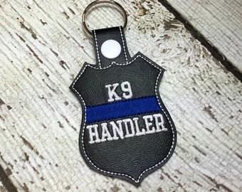K9 Handler - Thin Blue Line - POLICE - Law Enforcement - In The Hoop - Snap/Rivet Key Fob - DIGITAL Embroidery Design