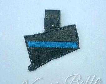 Thin Blue Line CONNECTICUT - POLICE - In The Hoop - Snap/Rivet Key Fob - DIGITAL Embroidery Design