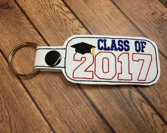Class of 2017 - Graduation SNAP Key Fob In The Hoop - DIGITAL Embroidery DESIGN