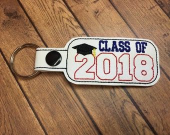 Class of 2018 - Graduation SNAP Key Fob In The Hoop - DIGITAL Embroidery DESIGN