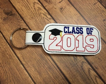 Class of 2019 - Graduation SNAP Key Fob In The Hoop - DIGITAL Embroidery DESIGN