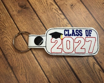 Class of 2027 - Graduation SNAP Key Fob In The Hoop - DIGITAL Embroidery DESIGN