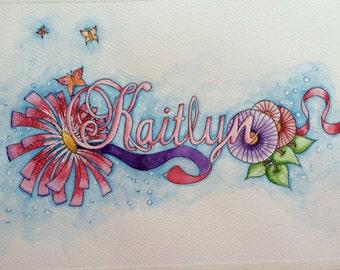 Custom Slot for Bespoke Watercolour Name Art.