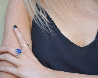 Lapis Lazuli patterned Ring - natural stone - boho ring - blue stone ring - silver ring - sterling silver rings