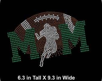 Rhinestone Bling Iron-on T-shirt Transfer Football Mom - Rhinestone Bling Iron-on T-shirt Transfer - Applique - Choice of colors - Bling DIY