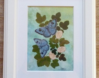 Butterfly Picture Blue Butterflies framed - Butterfly Art - Butterfly Wall Decor - 5 x 7 print in a beautiful cream architrave frame